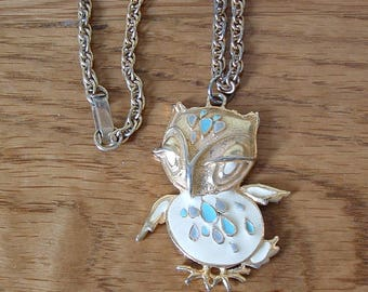 Vintage Enamel Owl Necklace, Owl Pendant Necklace, Cream Blue Gold Tone Owl Necklace