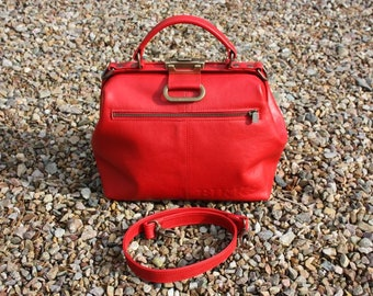 Doctor's bag Red cowhide leather