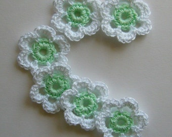 Mini Six Crocheted Flowers - White With Mint Green Centers - Cotton Flowers - Crocheted Flower Appliques - Flower Embellishments - Set of 6