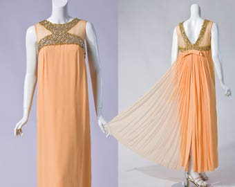 60s peach gown with silk chiffon train and gold beaded contrast | SIZE SMALL - MEDIUM