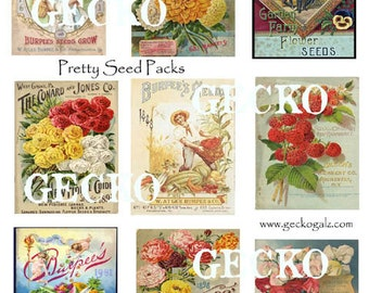 Pretty Seed Packs Digital Collage sheet