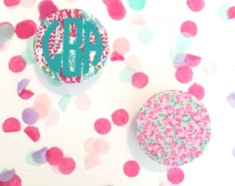 Monogrammed Pop Stand Phone Grip Lilly Pulitzer Inspired Phone Stand Monogram Phone Accessory Gift for Her