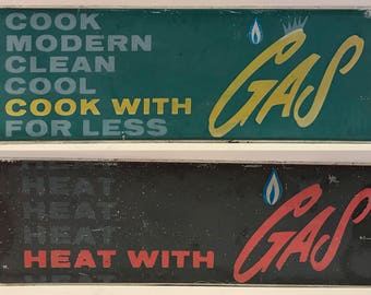 Original Double Sided Retro Vintage Metal Gas Sign