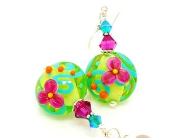 Green Pink Floral Earrings, Bright Earrings, Lampwork Earrings, Glass Earrings, Glass Bead Earrings, Colorful Earrings, Bead Earrings