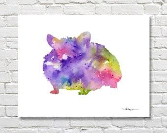 Hamster Art Print - Abstract Watercolor Painting - Wall Decor