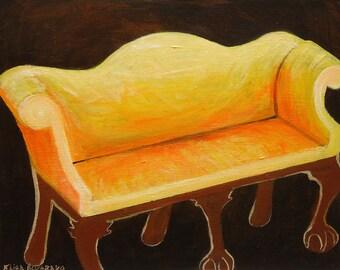 sofa painting, camel back sofa original acrylic painting on panel