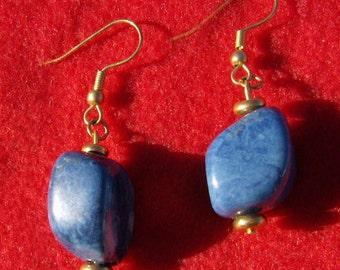 Stone Nugget Earrings - Blue Dyed Dangle with Gold by JewelryArtistry - E423