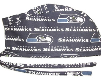 Mens Surgical Scrub Hat Handmade in the USA Seattle Seahawks Cotton Fabric Nurse Cap Tie Back Doctor ER Chemo Surgery Skull