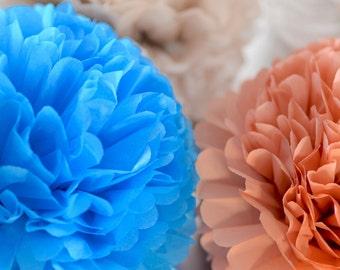 """4 large 14"""" / 37 cm tissue paper Pom Poms  -   multi colors - weddings party decorations"""