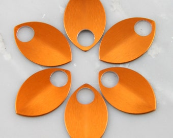 Orange Anodized Aluminum Scales, 50 Small