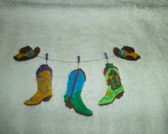 30 X 50 COWBOY BOOT THEME EMBROIDERED GUEST TOWEL