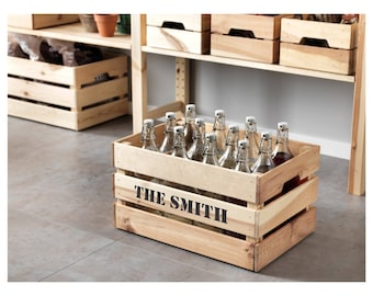 Personalised wooden crate box rustic