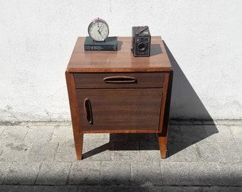 Vintage Wood & Formica Bedside Cabinet