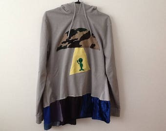 Quirky Ufo Hoodie Sweathshirt Tunic. Funky Alien Upcycled Clothing Shabby Refashioned Patchwork Top. Women's Size Medium to Large.