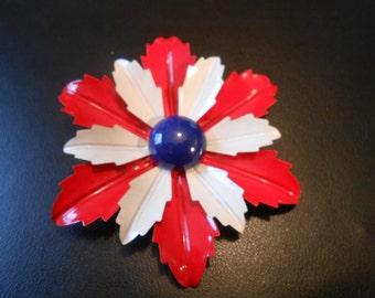 Vintage BIG Red, White, and Blue Enamel Flower Pin Mod Enamel Flower Pin