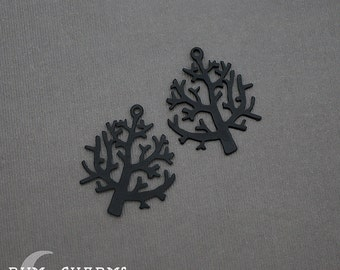 0097 - Pendant Connector, Matte Black Jewelry Epoxy Coated, Winter Branch Tree Pendant, 2 Pieces