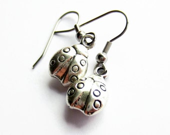 Silver Ladybird Drop Earrings, Ladybug Earrings, Insect Jewelry, Hypoallergenic Surgical Stainless Steel, Gift for Her, Daughter