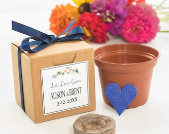 "12 ""Let Love Grow"" Blue Heart Flower Seed Garden Kit - Unique Navy Wedding or Bridal Shower Favor Personalized Thank You from Bride & Groom"