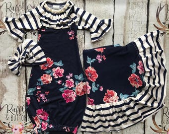Baby girl gown, navy and coral, baby shower gift, over the top, coming home outfit, floral baby outfit, classy baby, church gown