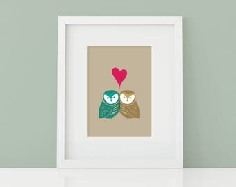 Printable | Love Owls | 8x10 Artwork with Mat Border