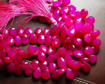 7 Inch Strand -Hot Pink Chalcedony Faceted Pear Briolette,Size11-12mm Approx
