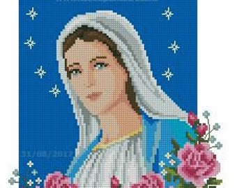 Our Lady of Medjugorje messages cross stitch pattern