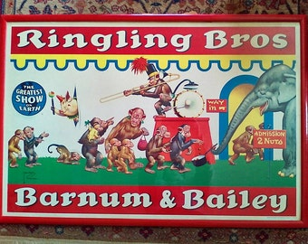 RARE Colorful Original Vintage 1950s Ringling Bros and Barnum Bailey Circus Poster