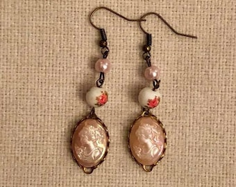 Pink cameo vintage Upcycled earrings