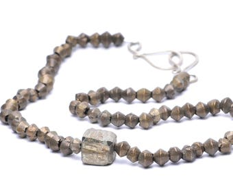 Antique Rustic Brass Bead Necklace with Asymmetric Pyrite Cube