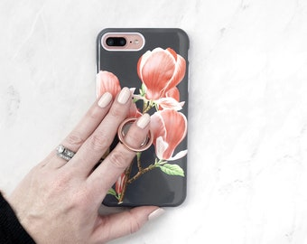 Ring Grip Magnolia Buds iPhone Case or Galaxy Case Floral Botanical Expanding Stand Finger Holder in Rose Gold, iPhone 8 Plus X 7 6S
