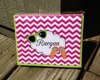 10 Personalized Summer Chevron Notecards Pink Chevron note cards