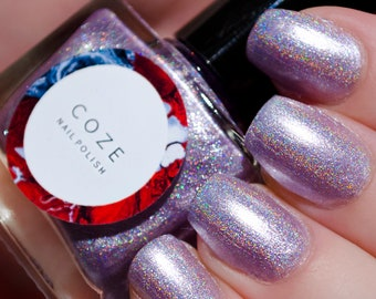 Light lilac linear holographic indie nail polish
