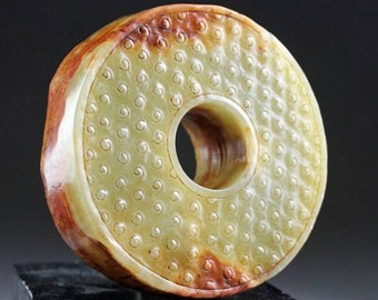 A substantial Chinese Jade Bi Disc in pale green Nephrite!
