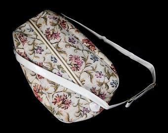 10 Dollar Sale---Vintage 60's Beige w/ Red Floral Tapestry Shoe Bag Adjustable Strap