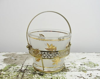 Vintage glass ice bucket with Golden Foliage  patterns by Libbey mid century modern