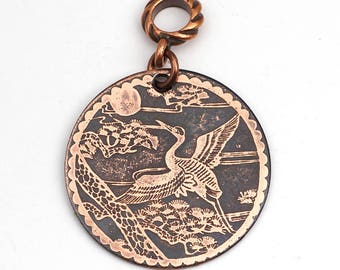 Etched copper Asian crane pendant, round flat Japanese motif jewelry, optional necklace, 31mm