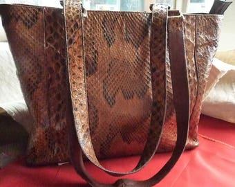 dark brown leather handbag * 26/20 cm * vintage