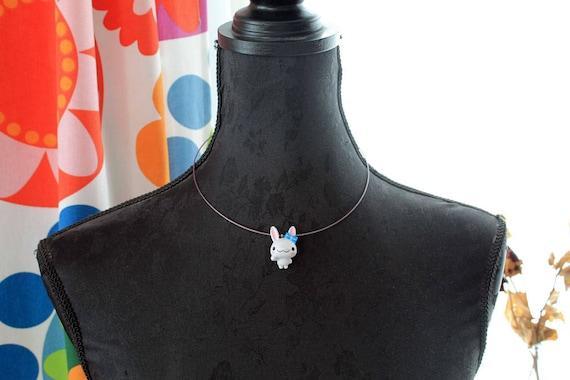 White bunny rabbit  Kawaii short necklace Gothic Lolita purple string