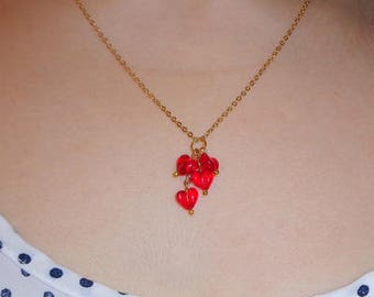 Red Heart Necklace, 16K Yellow Gold Filled Chain, Vintage Glass Heart Beads, Valentine Gift