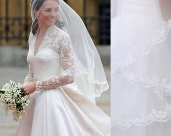 kate middleton veil, inspired, 1.5M, Princess kate veil,  Elbow length veil , 1.5M Veil, Wedding Veil, bridal Veil, Lace Veil,  LA15011-1.5M