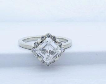 Vintage style Asscher cut moissanite engagement ring, lab grown diamond halo white gold engagement ring with Forever One asscher cut stone