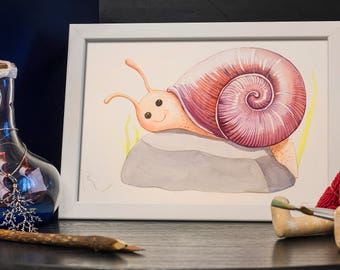SNAIL WATERCOLOR PAINTING - room decor, gift for a child