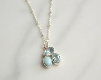 Blue Topaz Larimar Sterling Silver Pendant Necklace