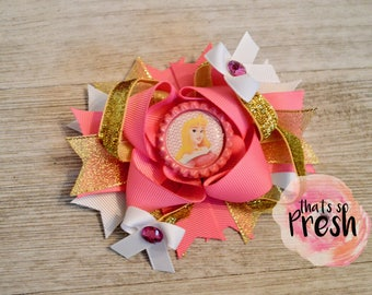 Sleeping Beauty Hair Bow, Disney Princess Hair Bow, Aurora Hair Bow, Sleeping Beauty Party Bow, Sleeping Beauty Birthday