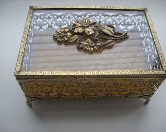 Vintage Mid Century Gold Ormolu Jewelry Casket  Box /Jewel Box/Glass Hinged Lid w/Flower Embellishment //Vanity Box//Mother's Day Gift Box