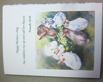 Happy Mother's Day 5 x 7 Note Card YOU pick Sentiment Heading Bunny Rabbits watercolor print