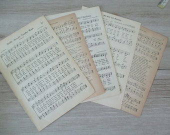 FREE SHIPPING 5 Hymnal Pages Antique Hymns Paper Ephemera