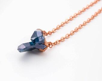 Blue Aura Crystal Quartz Necklace | Copper Electroformed Jewelry | Electroformed Crystal Pendant |