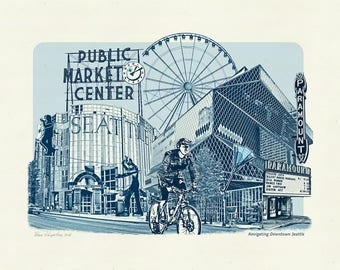 Navigating Downtown Seattle - Art Print of Seattle, Washington - 8.5x11 and 11x14