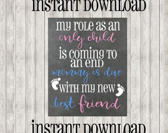 INSTANT DOWNLOAD Pregnancy Announcement   Only Child Expiring   Best Friend   Mommy Is Due   Baby